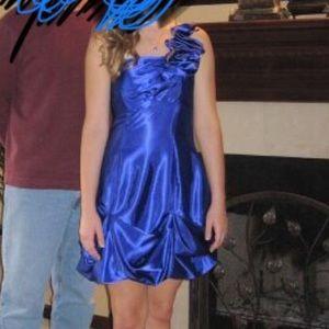 Royal blue one shoulder formal dress